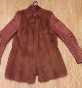 Меховой жилет+кожаная куртка