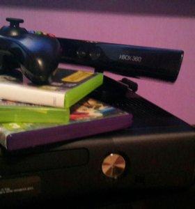 Xbox 360 + kinect + ГЕЙМПАД + 3 ДИСКА