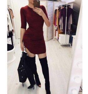 платье бордовое под замшу