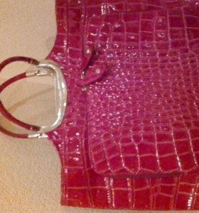 Новая сумка нат.кожа, лак под крокодила