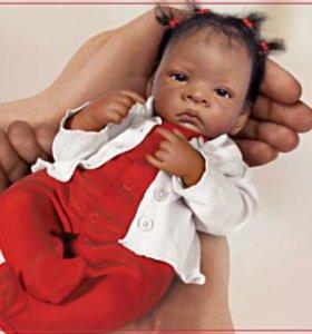 Мулаточка миниатюрная кукла реборн Жасмин
