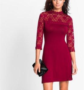 Новое бордовое кружевное платье 60 р-р