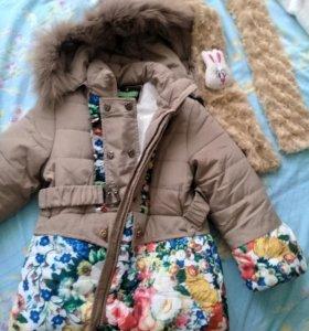 Зимняя теплая  новая куртка с шарфом в комплекте