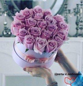 Цветы в коробке. Букеты цветов с доставкой