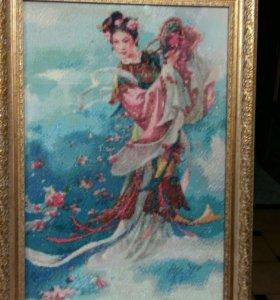 Алмазная вышевка ''Девушка бросающая цветы ''.