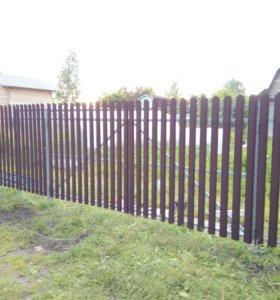 Забор из профлиста,штакетника ,рабицы,ворота .....