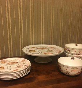 Подставка/блюдо для торта, тарелки и миски-вазочки