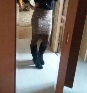 Новая бандажная юбка в паетках
