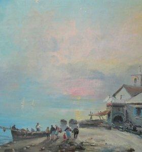 Старинная картина, морской пейзаж, живопись