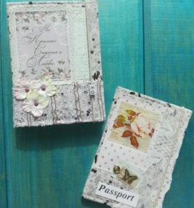 Набор: блокнот и обложка на паспорт «На крыльях..»