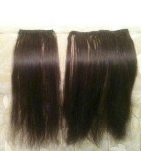 Волосы натуральные на заколках 50 см