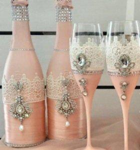 Свадебные бокалы бутылки