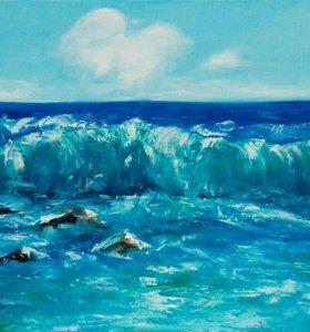 Море Картина Масло, холст. Хороший подарок.