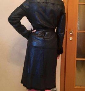 Дубленка -пальто из натурального меха кролика
