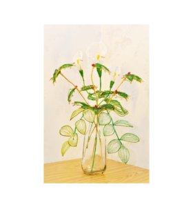 Цветы из бисера Калла и Остролист