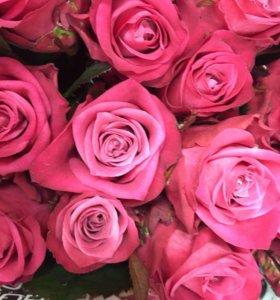 Фиолетовые розы 80 см цветы