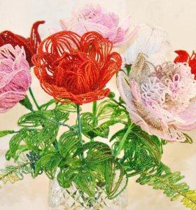 Розы и пионы из бисера