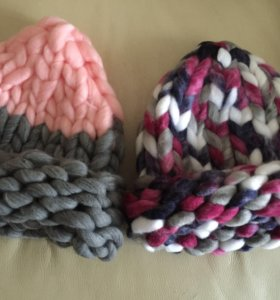 Шапки крупной вязки ( двухцветные)