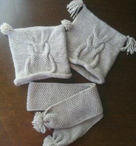 Вязанные шапка и шарф