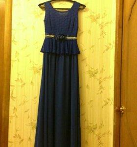 Платье синиее, 1 раз б/у