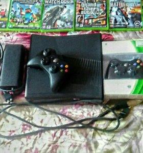 Xbox 360 Slim 250GB +2 геймпада + 39 игр
