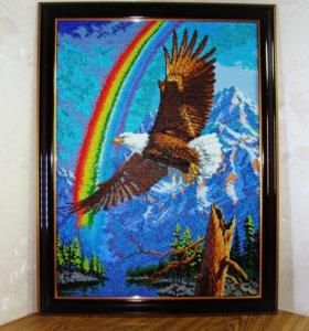 """Картина из бисера """"Орел и радуга"""""""