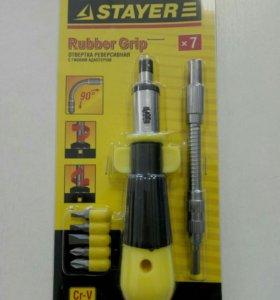 Отвертка STAYER реверсивная с гибким адаптером