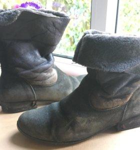 Сапоги ботинки зимние нат шерсть овчина, замша р39