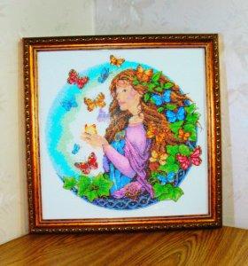 """Картина вышитая бисером """"Полет бабочек"""""""
