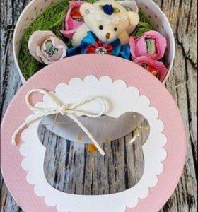 Букет из конфет «Мишка в коробке»