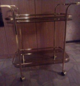 Столик сервировочный на колесиках SC 5096 хром