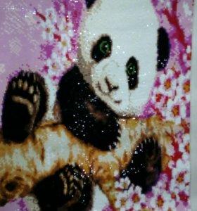 Панда в сакуре. Стразами