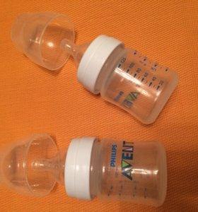 Бутылочки Avent 125мл - 2 шт с разными сосками