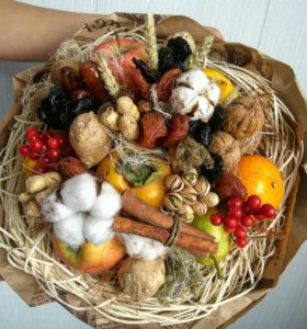 Букет фрукты, орехи, сухофрукты