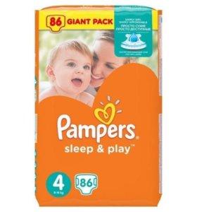 Подгузники Pampers sleep & play 4