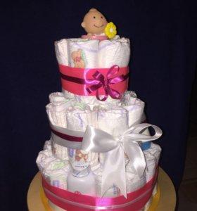 Подарок для новорожденного/ торт из подгузников