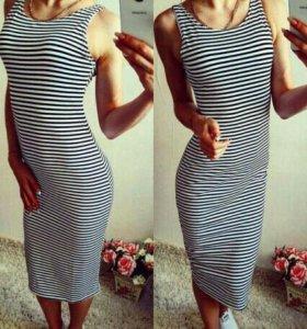 Платье в полоску maxi