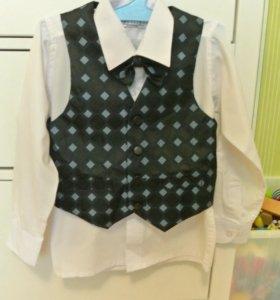Новый комплект (жилетка+рубашка+бабочка)