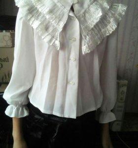 Блузка нарядная,белая 128 см