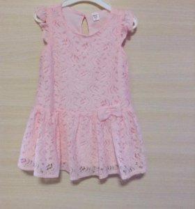Нежное розовое платье 9-12мес