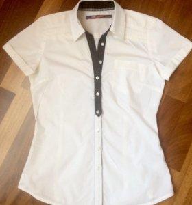 Zara Рубашка белая с коротким рукавом с пуловером