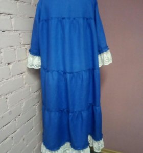 Платье льняное с кружевом бохо
