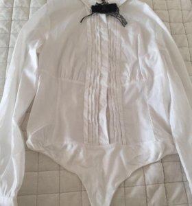 Блузка -комбидресс белая