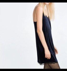 Платье велюр в бельевом стиле
