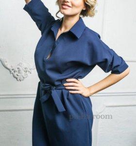 Платье-рубашка синее. Новое