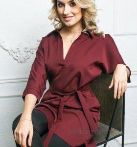 Платье-рубашка цвета бордо