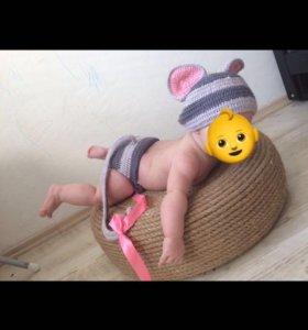 Детский вязанный костюм мышонка