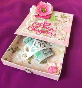 Коробочка-открытка  для денежного подарка