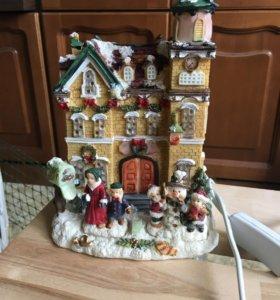 Светильник новогодний керамический домик