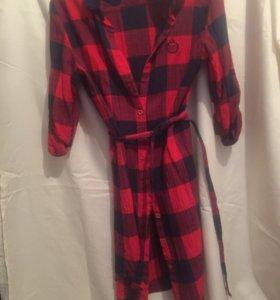Рубашка-платье в чине-красную крупную клетку